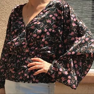Women's forest green floral blouse
